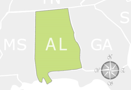 State of Alabama Map