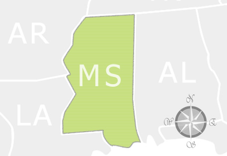 State of Mississippi Map